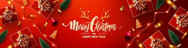 Wesołych świąt i szczęśliwego nowego roku plakat promocyjny lub baner z czerwonym pudełkiem