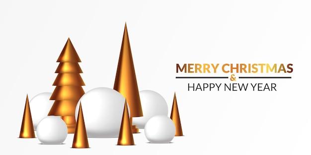 Wesołych świąt i szczęśliwego nowego roku plakat szablon transparent. 3d śnieżka i złota sosna rzeźbimy ilustrację z białym tłem.