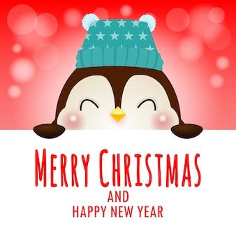Wesołych świąt i szczęśliwego nowego roku plakat wesoły pingwina w świątecznych czapkach