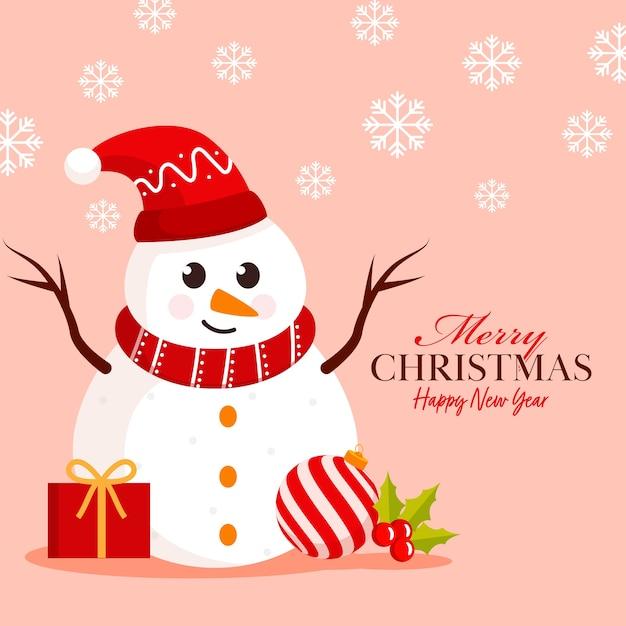 Wesołych świąt i szczęśliwego nowego roku plakat z bałwanem kreskówka ubrany w czapkę świętego mikołaja, pudełko, ostrokrzew, bombkę i płatki śniegu ozdobione na pastelowym brzoskwiniowym tle.