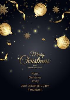 Wesołych świąt i szczęśliwego nowego roku plakat z płatki śniegu i kulki