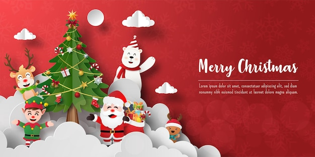 Wesołych świąt i szczęśliwego nowego roku, pocztówka bożonarodzeniowa z mikołajem i przyjaciółmi z choinką
