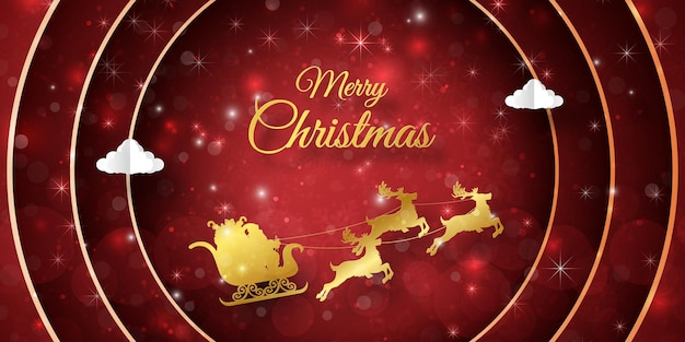 Wesołych świąt i szczęśliwego nowego roku, pocztówka bożonarodzeniowa z mikołajem na saniach z dekoracją świąteczną