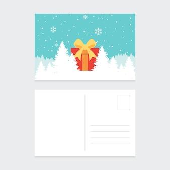 Wesołych świąt i szczęśliwego nowego roku pocztówka szablon ozdobny zimową scenerią