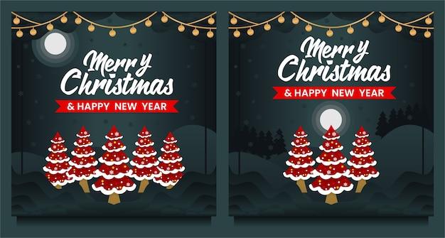Wesołych świąt i szczęśliwego nowego roku post w mediach społecznościowych, szablon banera z choinką