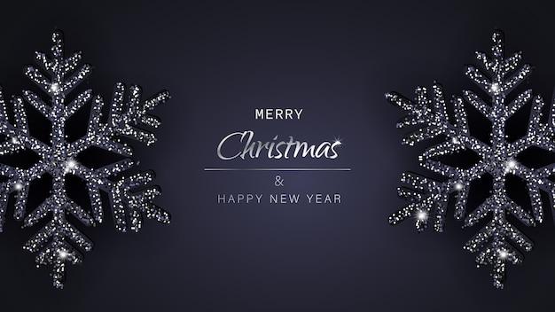 Wesołych świąt i szczęśliwego nowego roku powitanie tło z płatki śniegu