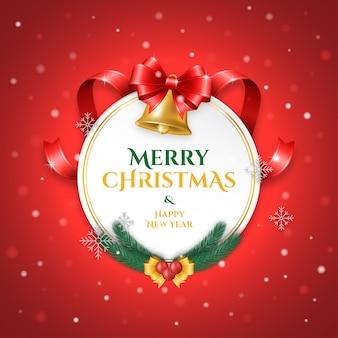 Wesołych świąt i szczęśliwego nowego roku powitanie z dekoracją etykiety