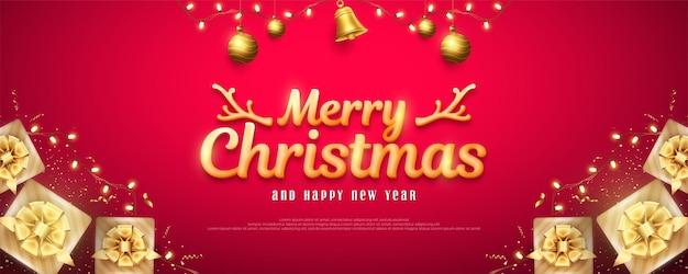 Wesołych świąt i szczęśliwego nowego roku powitanie z pudełkami prezentowymi i dekoracyjnymi światłami