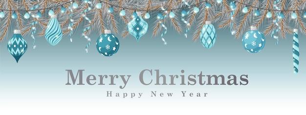 Wesołych świąt i szczęśliwego nowego roku poziome kartkę z życzeniami