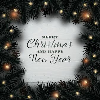Wesołych świąt i szczęśliwego nowego roku projekt karty z pozdrowieniami