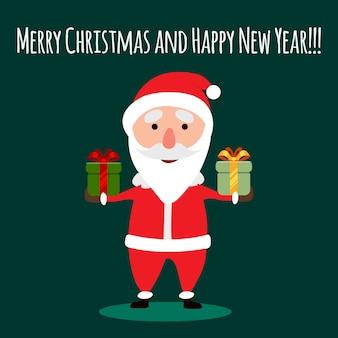 Wesołych świąt i szczęśliwego nowego roku pudełko świętego mikołaja