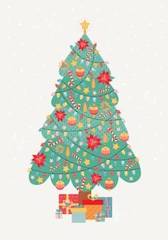 Wesołych świąt i szczęśliwego nowego roku rocznika kartkę z życzeniami. choinka jest bogato zdobiona girlandami, zabawkami choinkowymi, cukierkiem, gwiazdką betlejemską. duży stos prezentów pod drzewem. ilustracja wakacje