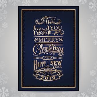 Wesołych świąt i szczęśliwego nowego roku rocznika złota karta typografii