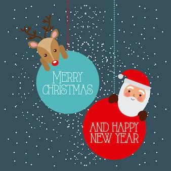 Wesołych świąt i szczęśliwego nowego roku santa i jelenie wiszące kulki