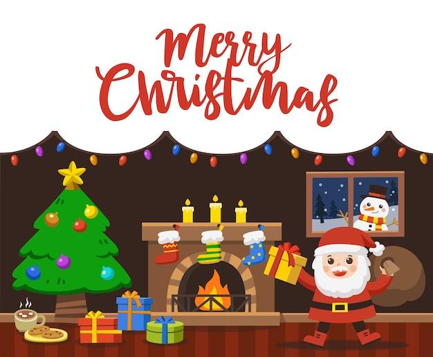 Wesołych świąt i szczęśliwego nowego roku. santa ręka trzyma pudełko na prezent świąteczny w urządzonym salonie ferie zimowe.