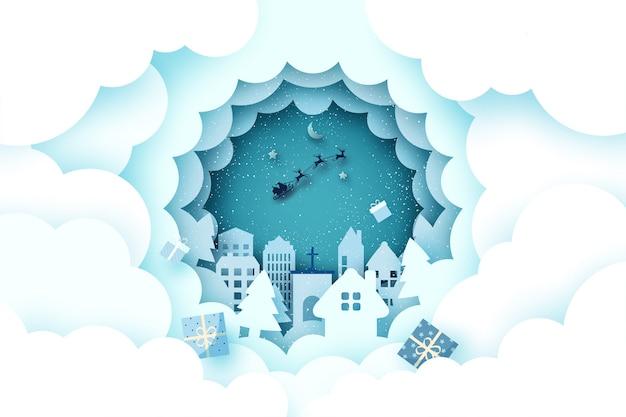 Wesołych świąt i szczęśliwego nowego roku. sezon zimowy krajobraz z mikołajem w saniach.
