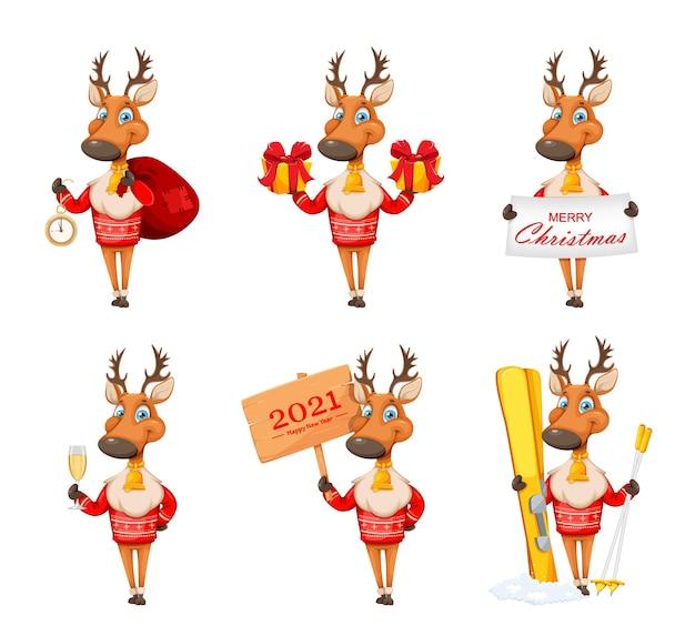 Wesołych świąt i szczęśliwego nowego roku. śliczny jeleń