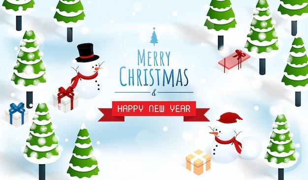 Wesołych świąt i szczęśliwego nowego roku śniegu tle lasu