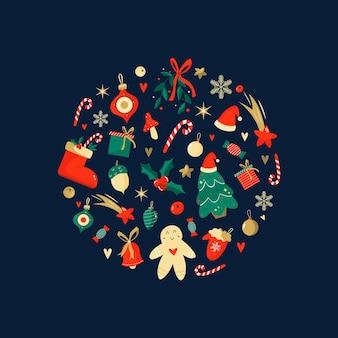 Wesołych świąt i szczęśliwego nowego roku streszczenie projektu. grafika wektorowa dekoracji świątecznych