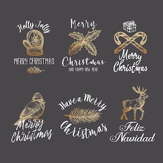 Wesołych świąt i szczęśliwego nowego roku streszczenie znaki, etykiety lub zestaw szablonów logo