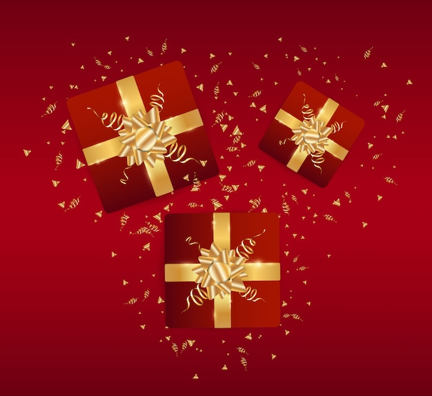 Wesołych świąt i szczęśliwego nowego roku świąteczne realistyczne czerwone tło. ilustracja nowy rok z pudełkiem i złotym świecidełkiem.