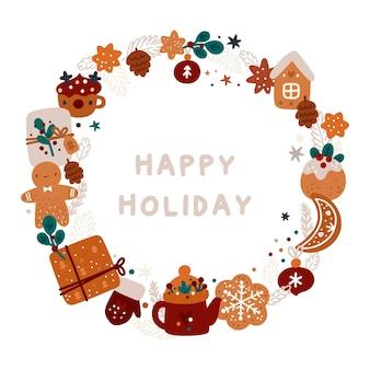 Wesołych świąt i szczęśliwego nowego roku! świąteczny wieniec z tradycyjnymi symbolami wakacji zimowych
