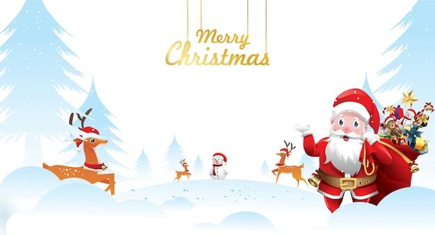 Wesołych świąt i szczęśliwego nowego roku. święty mikołaj jest macha z workiem prezentów
