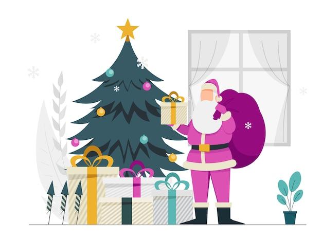 Wesołych świąt i szczęśliwego nowego roku święty mikołaj z prezentami