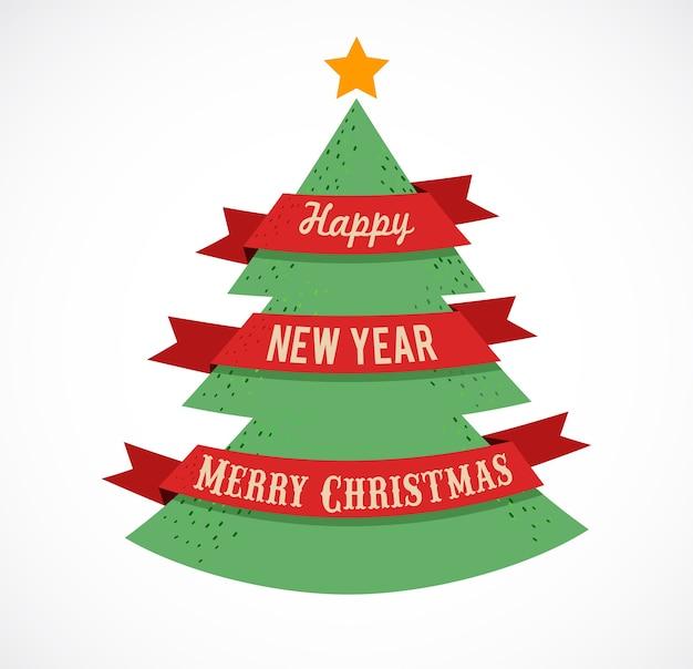 Wesołych świąt i szczęśliwego nowego roku szablon karty z pozdrowieniami z choinką.