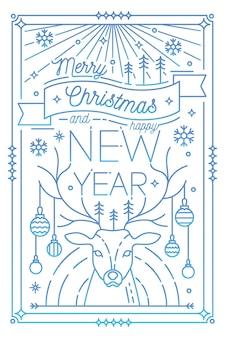 Wesołych świąt i szczęśliwego nowego roku szablon karty z pozdrowieniami z wakacyjnymi atrybutami narysowanymi w stylu grafiki liniowej - poroże jelenia ozdobione bombkami, płatkami śniegu, świerkami.