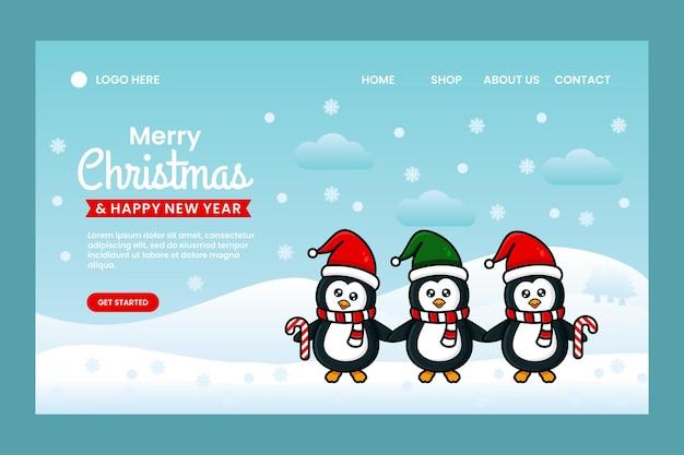 Wesołych świąt i szczęśliwego nowego roku szablon projektu strony docelowej z pingwinami