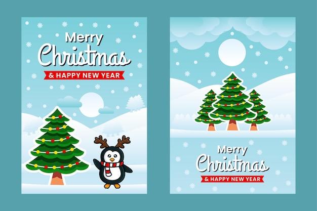 Wesołych świąt i szczęśliwego nowego roku szablon projektu transparent z pingwinami
