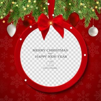 Wesołych świąt i szczęśliwego nowego roku szablon ramki na zdjęcia.