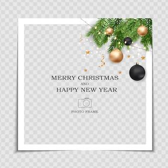 Wesołych świąt i szczęśliwego nowego roku szablon ramki na zdjęcia