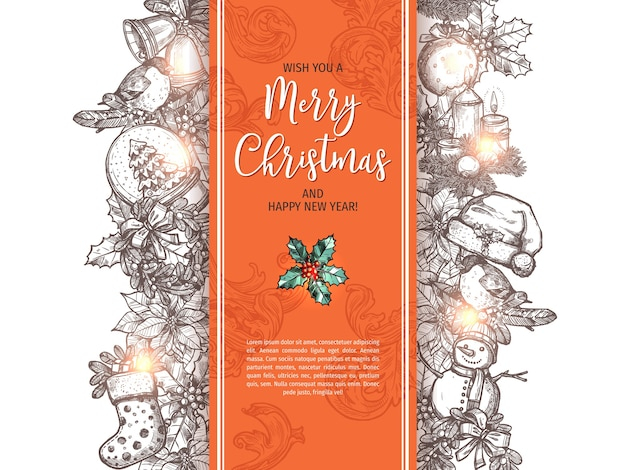 Wesołych świąt i szczęśliwego nowego roku szkic kartkę z życzeniami, plakat lub tło.