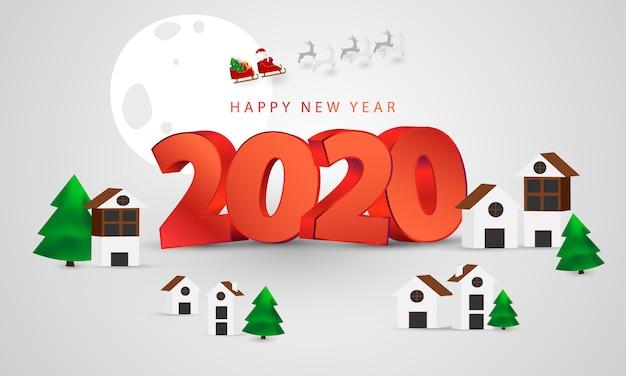 Wesołych świąt i szczęśliwego nowego roku tło. święty mikołaj na niebie.