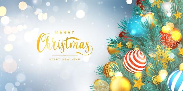 Wesołych świąt i szczęśliwego nowego roku tło. szablon tło uroczystość z drzewa. luksusowe powitanie