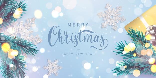 Wesołych świąt i szczęśliwego nowego roku tło. szablon tło uroczystość z drzewa.