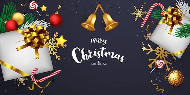 Wesołych świąt i szczęśliwego nowego roku tło. szablon tło uroczystość z wstążkami. luksusowe powitanie bogata karta.