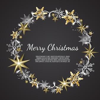 Wesołych świąt i szczęśliwego nowego roku, tło xmas z lśniącymi złotymi i srebrnymi płatkami śniegu, kartka z życzeniami, transparent wakacyjny,