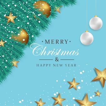 Wesołych świąt i szczęśliwego nowego roku tło z bożonarodzeniową ozdobą złota piłka i start