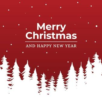 Wesołych świąt i szczęśliwego nowego roku tło z drzewami
