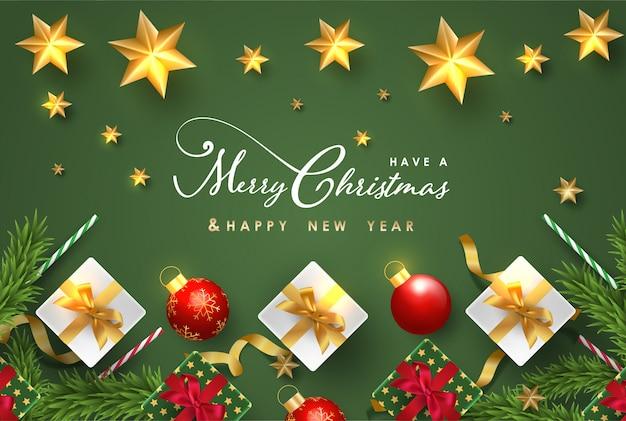 Wesołych świąt i szczęśliwego nowego roku tło z realistycznymi przedmiotami świątecznymi