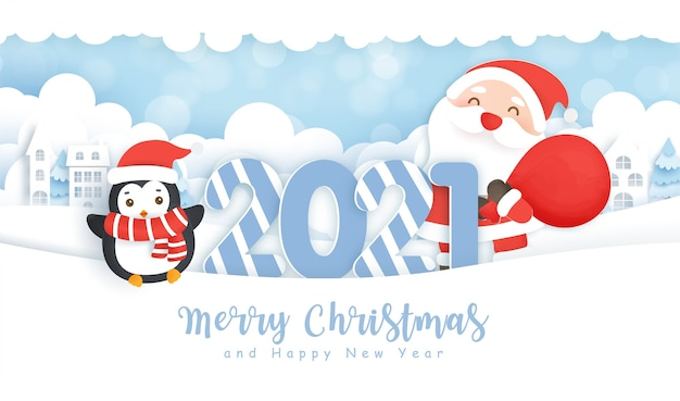 Wesołych świąt i szczęśliwego nowego roku tło z uroczym mikołajem i przyjaciółmi w śnieżnym lesie.