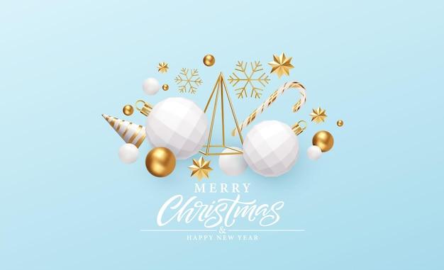 Wesołych świąt i szczęśliwego nowego roku tło. złoto i białe obiekty 3d skład wakacje. choinka, ozdoby świąteczne, płatki śniegu i gwiazdy. ilustracja wektorowa