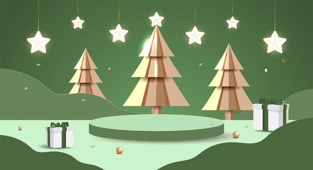Wesołych świąt i szczęśliwego nowego roku transparent. minimalna makieta sceny z podium studyjnym, aby pokazać ekspozycję produktu. boże narodzenie drzewo wektor 3d, pudełka na prezenty i elementy imprezowe.