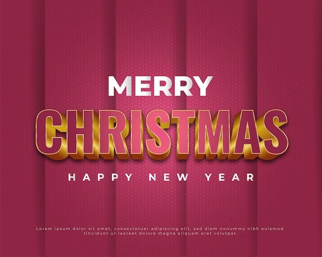 Wesołych świąt i szczęśliwego nowego roku transparent na czerwonym tle realistyczne