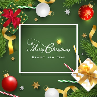 Wesołych świąt i szczęśliwego nowego roku transparent z realistycznymi przedmiotami świątecznymi