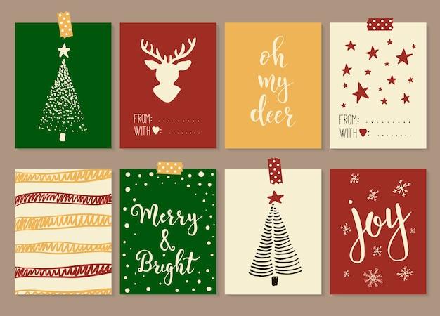 Wesołych świąt i szczęśliwego nowego roku vintage karty upominkowe z kaligrafią. napis odręczny. ręcznie rysowane elementy projektu. przedmioty do druku