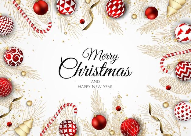 Wesołych świąt i szczęśliwego nowego roku wakacje biały transparent ilustracja.